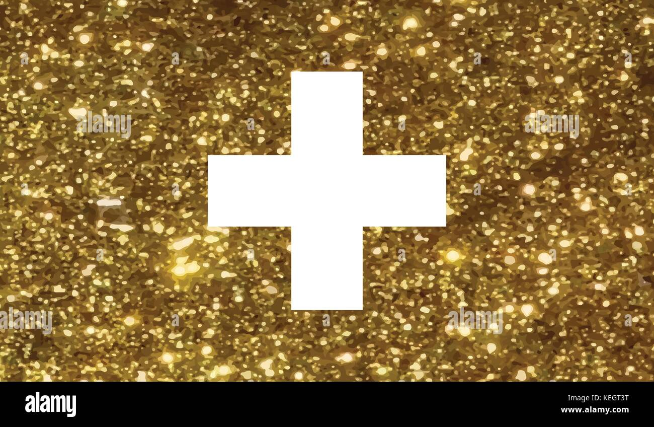 The vector golden Luxury glitter Swiss Switzerland country flag icon - Stock Vector