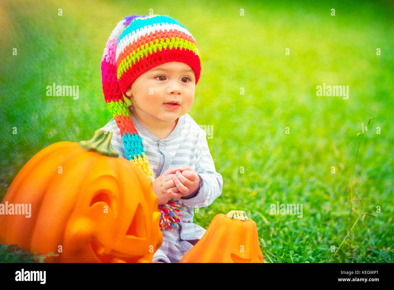 Portrait of a pretty child celebrating Halloween holiday, traditional American holiday with traditional pumpkins - Stock Image