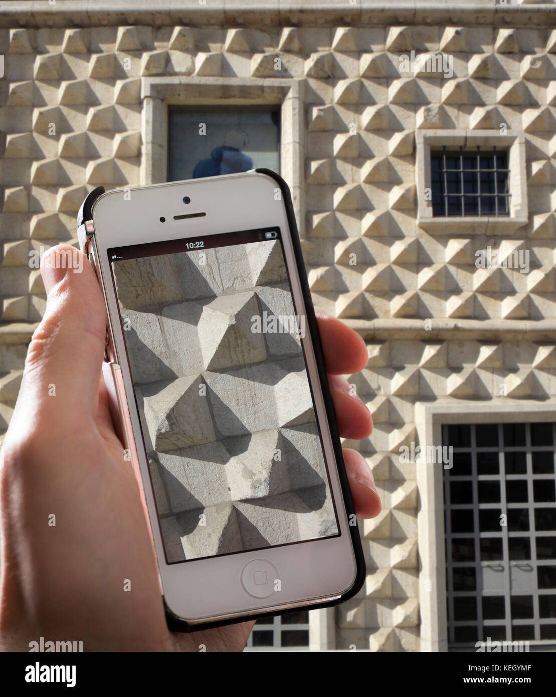 Casa dos Bicos (House of the Beaks/Spikes) in Lisbon. The house, built in the early 16th century in the Alfama neighbourhood, Stock Photo