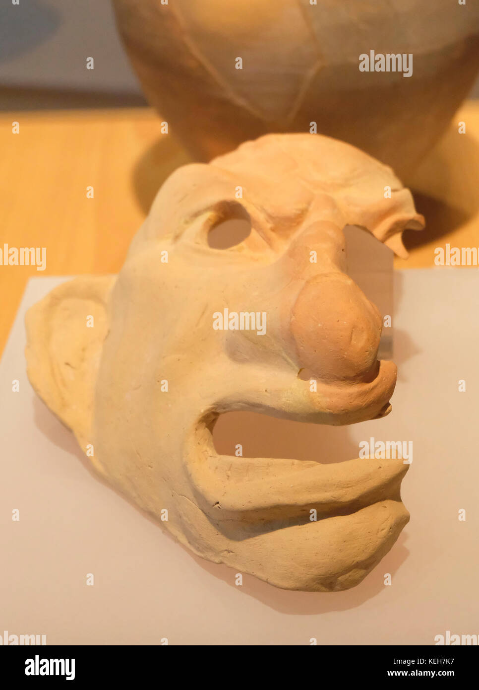 Ceramic Mask from the second century AD on display at Almoina Archaeological Museum, Valencia, Spain - Stock Image