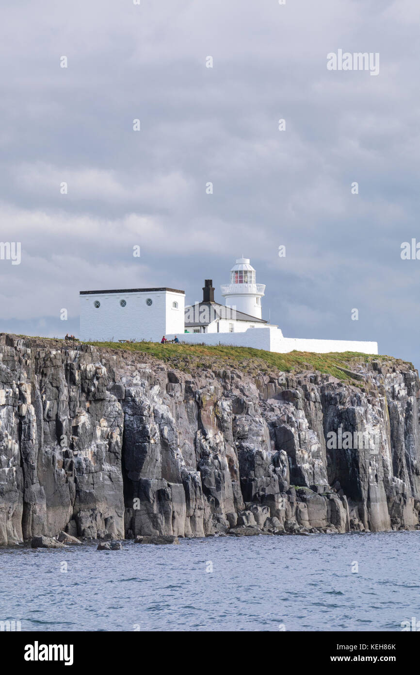 The Farne Lighthouse, Farne Islands, Inner Farne, Northumberland, North Sunderland Stock Photo