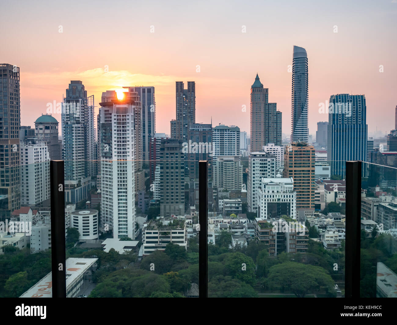 Bangkok city view point from rooftop of building, blue sky and city light, Thailand - Stock Image