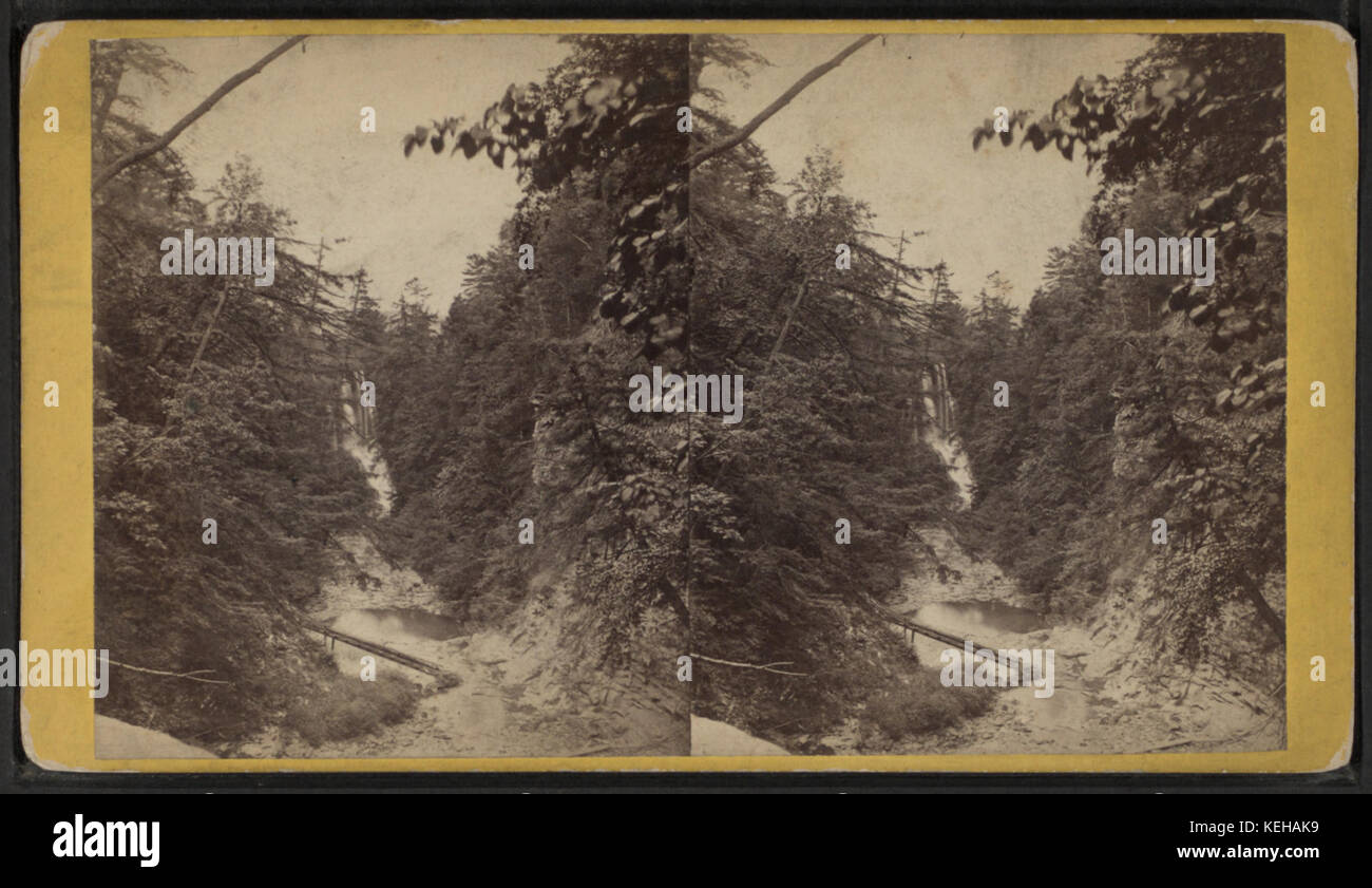 Looking west from the Giant's Stairs, the Tripple Cascade in the distance, Cascadilla Creek, by E. & H.T. - Stock Image