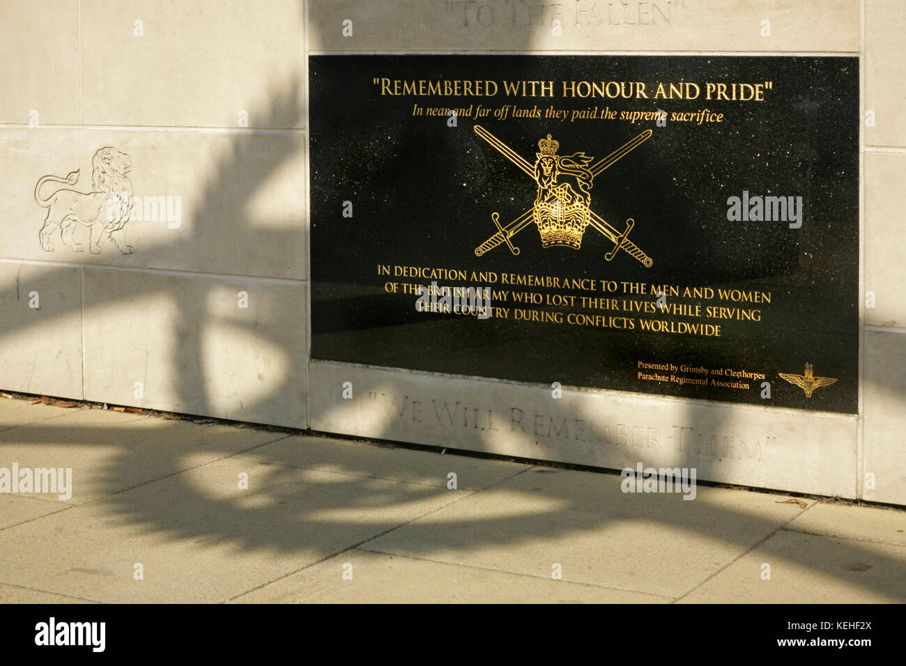 Memorial stone to the British Army, Cleethorpes, UK. - Stock Image