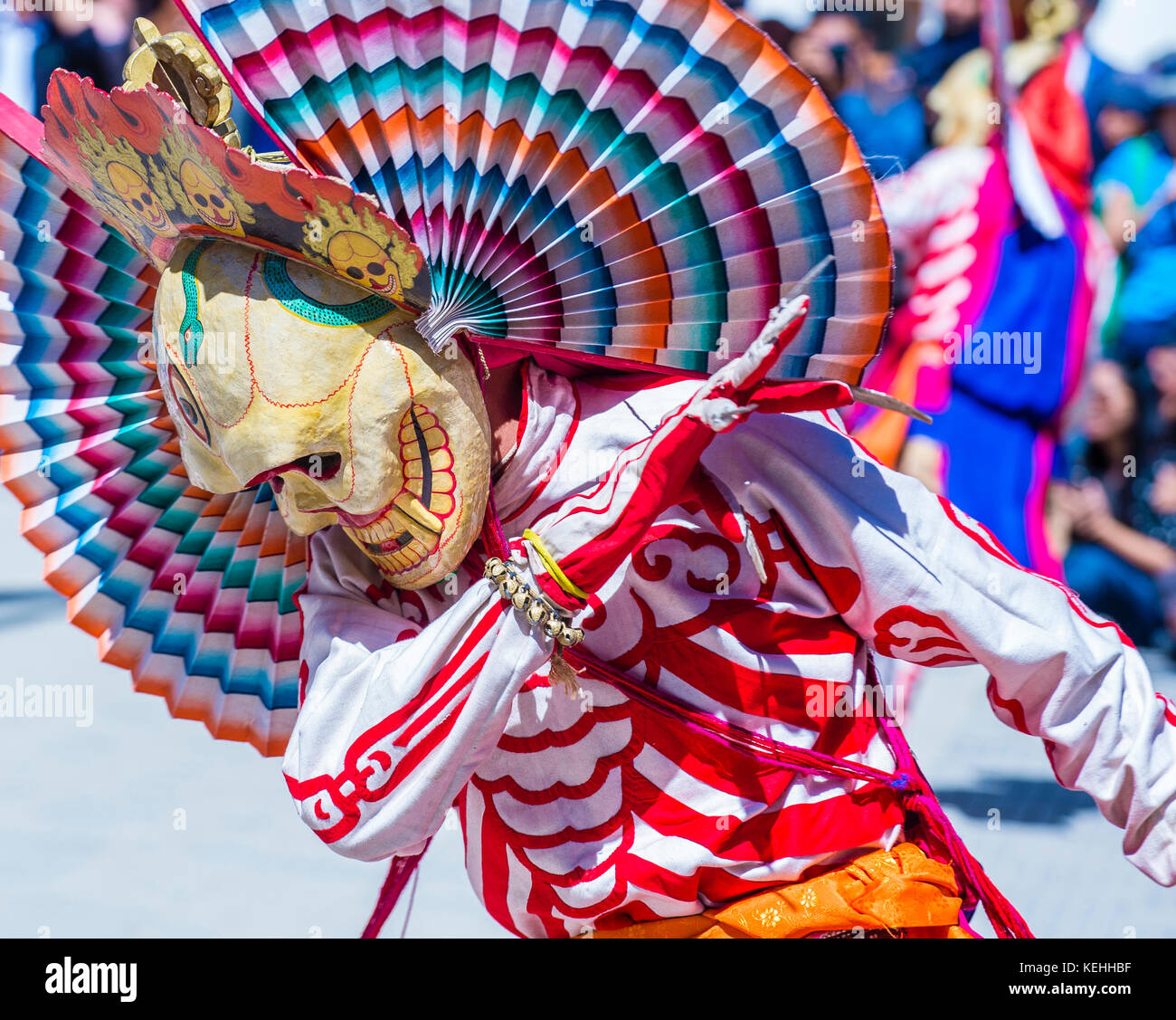 Buddhist monk performing Cham dance during the Ladakh Festival in Leh India - Stock Image