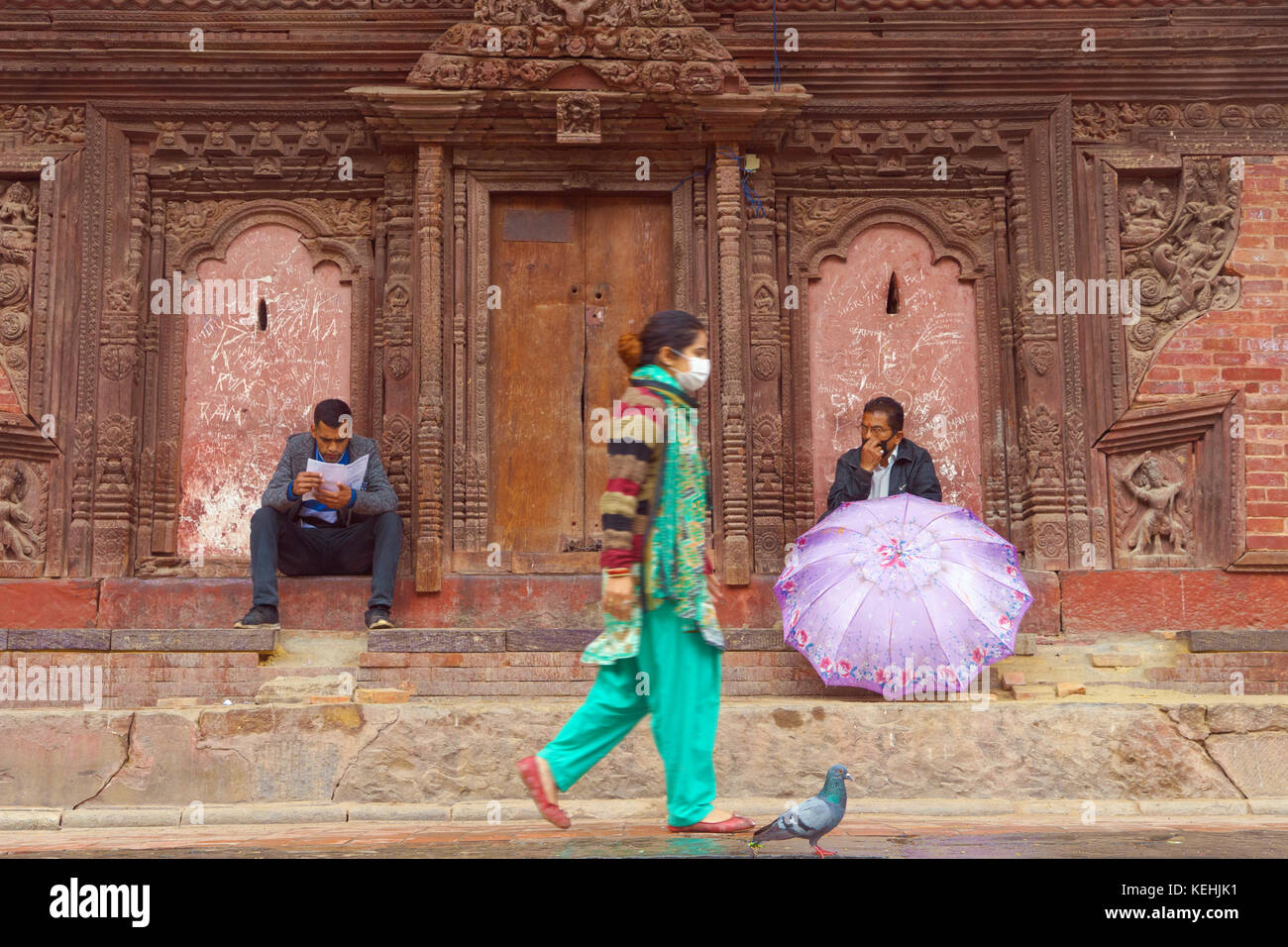 People at Jagannath temple, Durbar square, Kathmandu. - Stock Image
