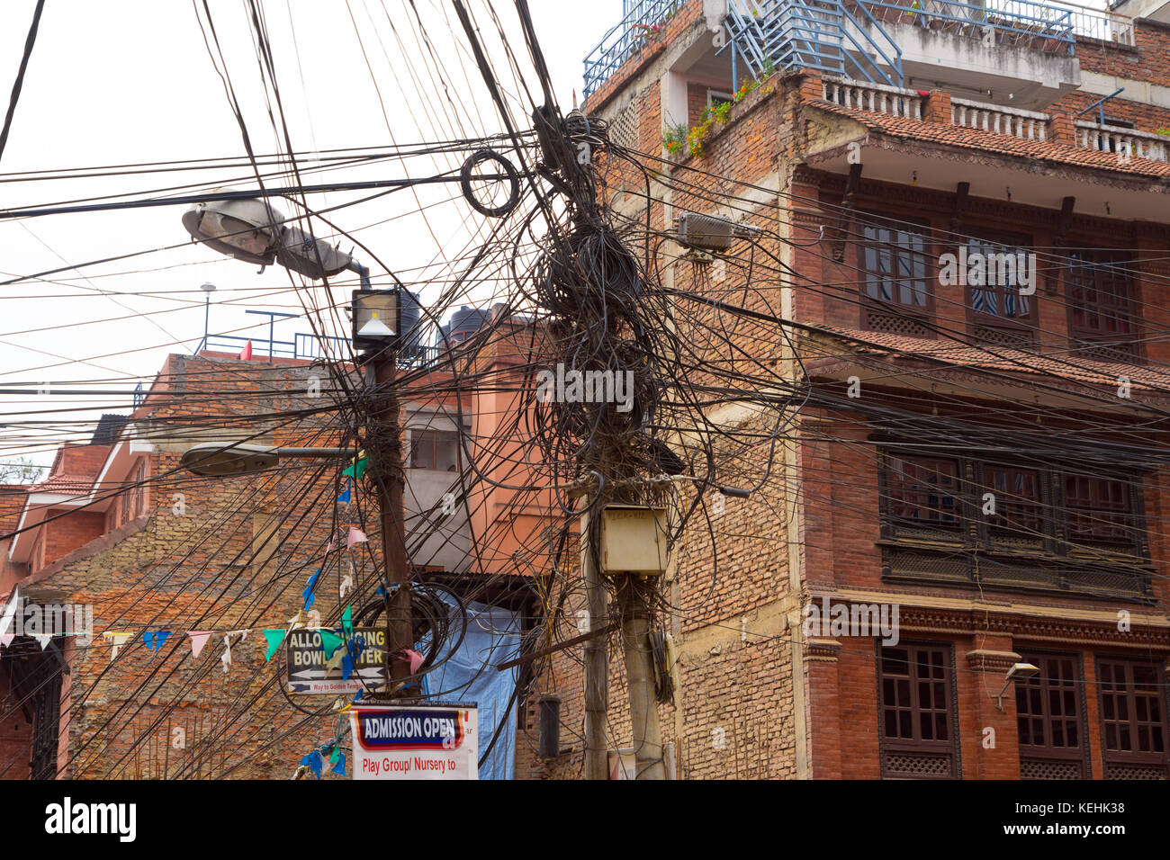 Tangle of electric wires in Kathmandu, Nepal. Stock Photo