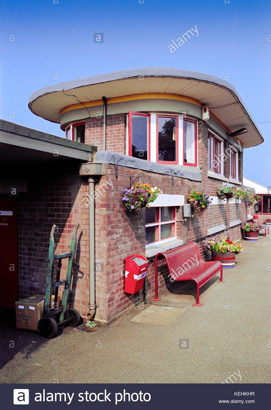 Art Deco Templecombe Station and Signal Box, Dorset, UK – 1991 - Stock Image