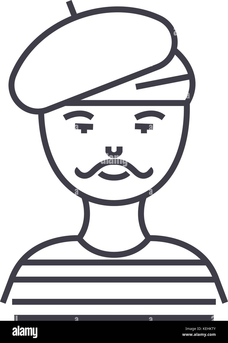french man,artist,mime vector line icon, sign, illustration on background, editable strokes - Stock Image