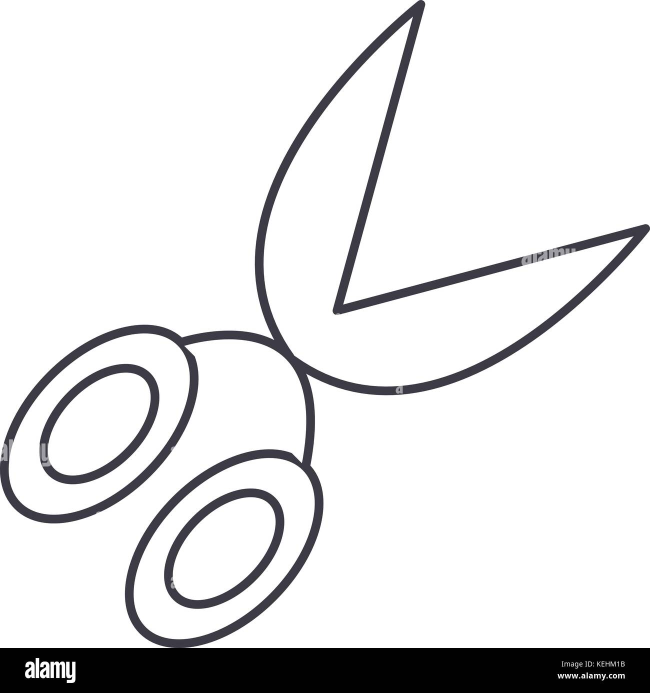 garden scissors  vector line icon, sign, illustration on background, editable strokes Stock Vector