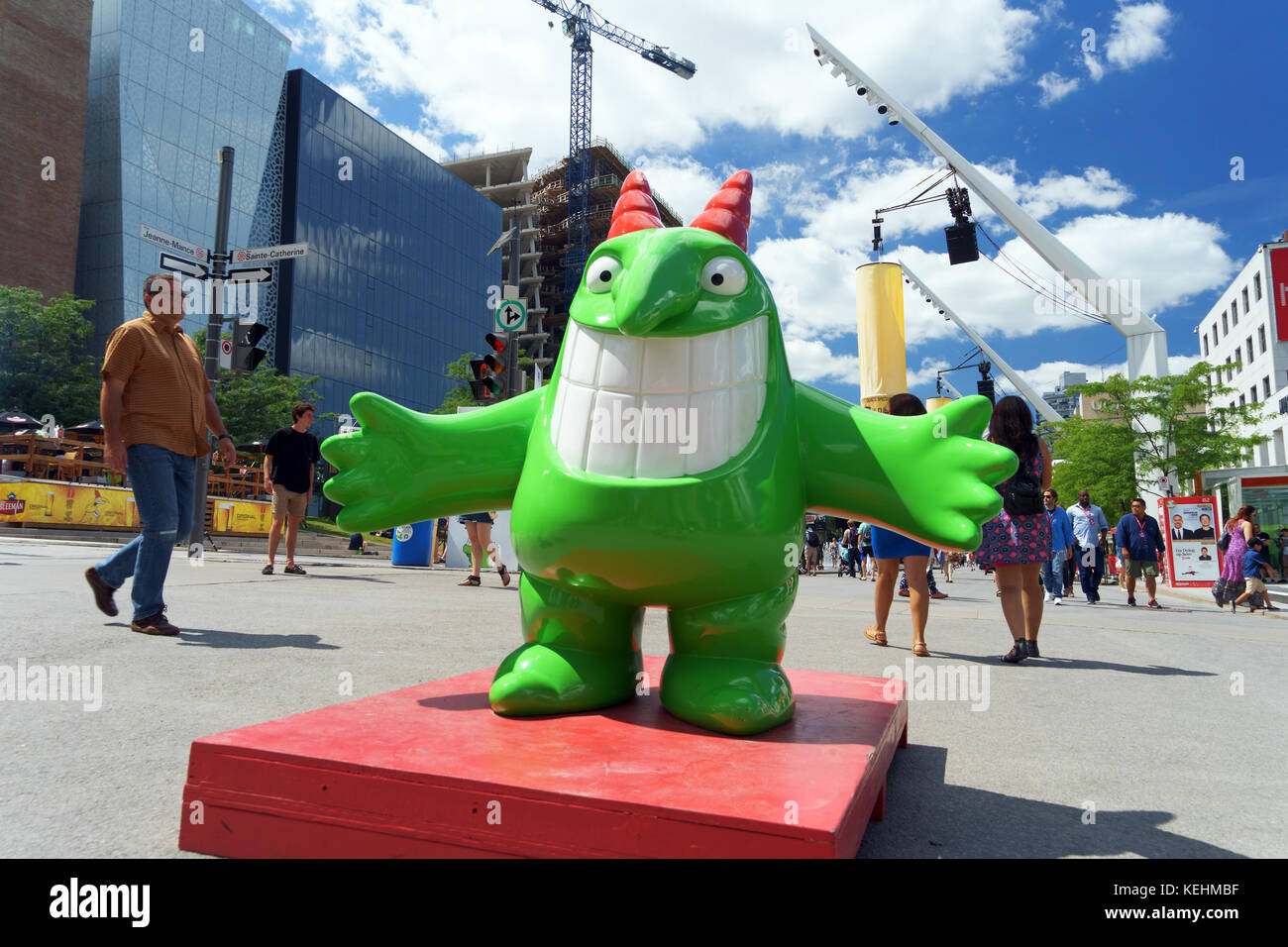Victor, mascot of the Just for Laughs Festival. - Stock Image