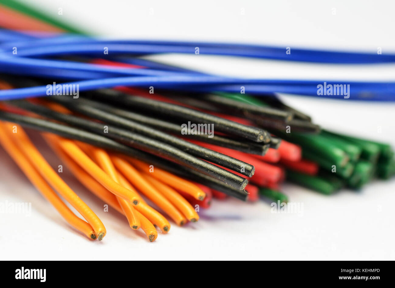 Colored electrical cables and wires isolated on white Stock Photo ...