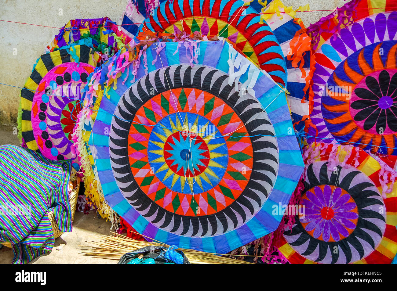 Handmade kites for sale on street on All Saints' Day in Santiago Sacatepequez, Guatemala, Central America - Stock Image
