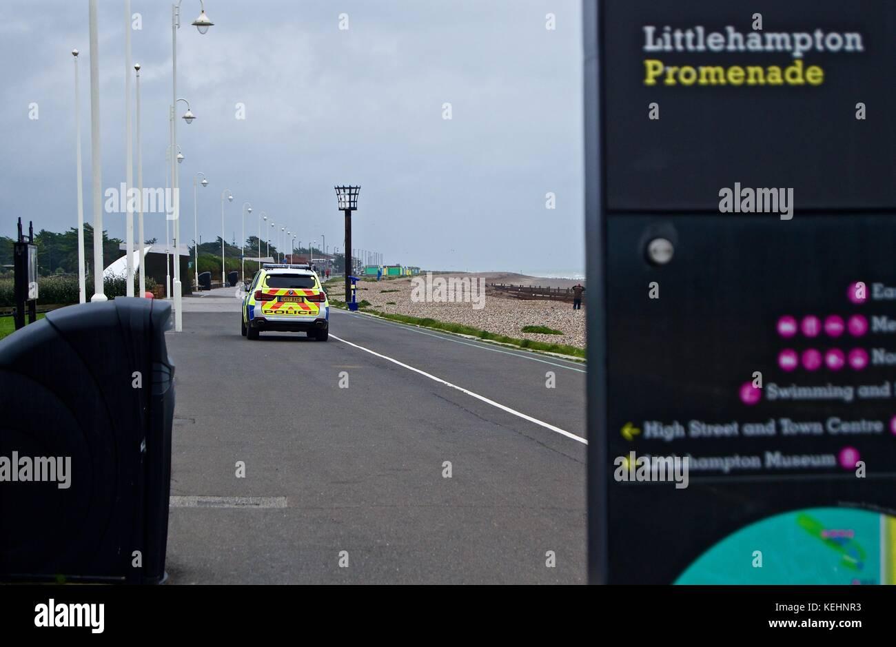 Police car on promenade, Littlehampton, UK - Stock Image