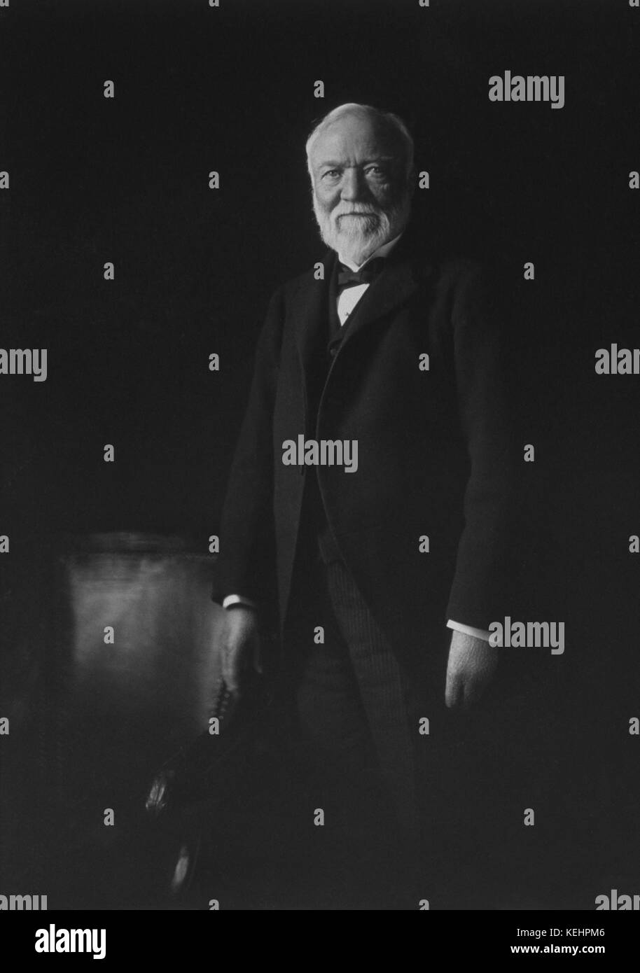 Andrew Carnegie,Standing Portrait by Theodore C. Marceau,1913 - Stock Image