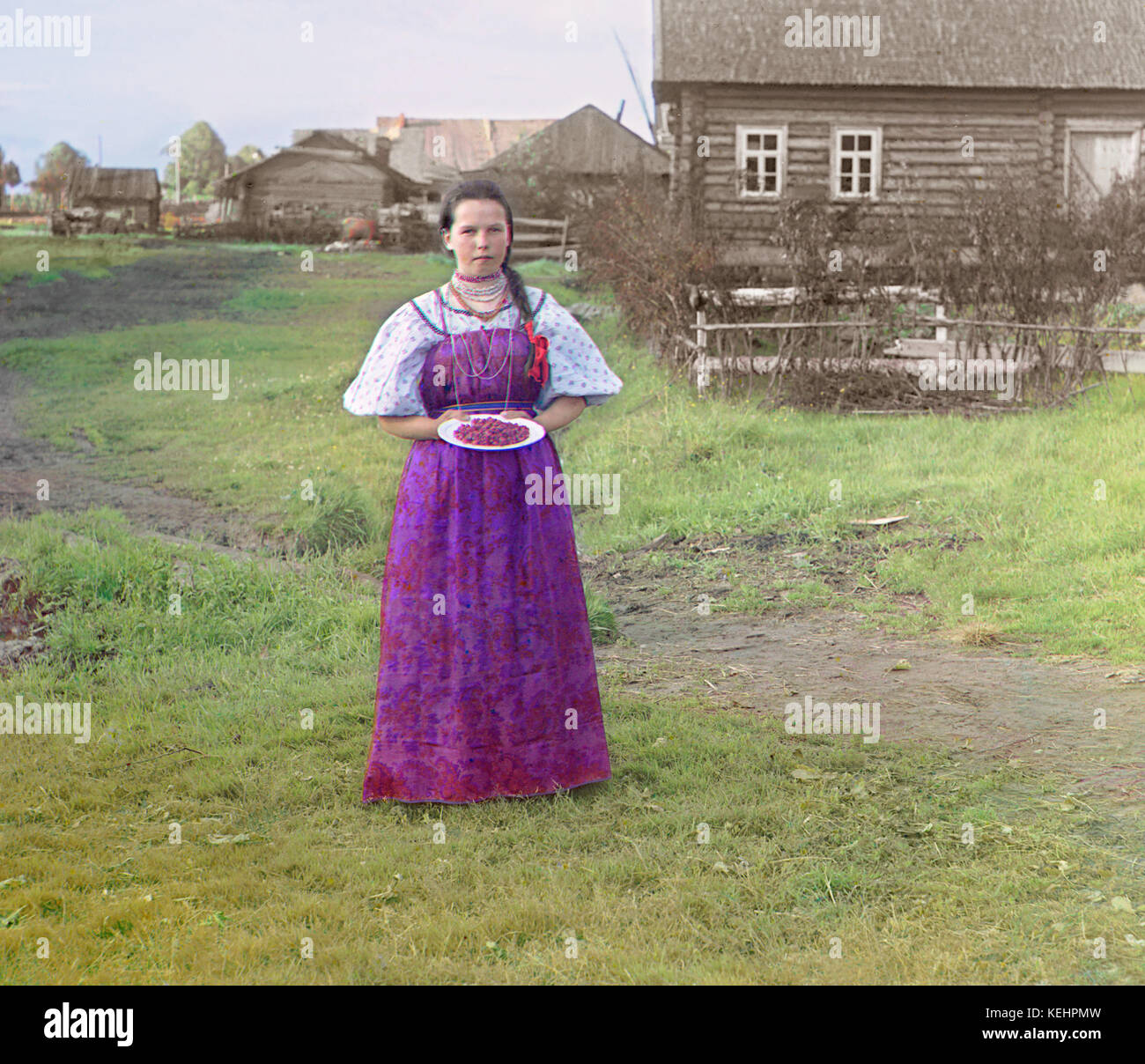 Peasant Girl with Berries,near Kirillov,Russia,Prokudin-Gorskii Collection,1909 - Stock Image