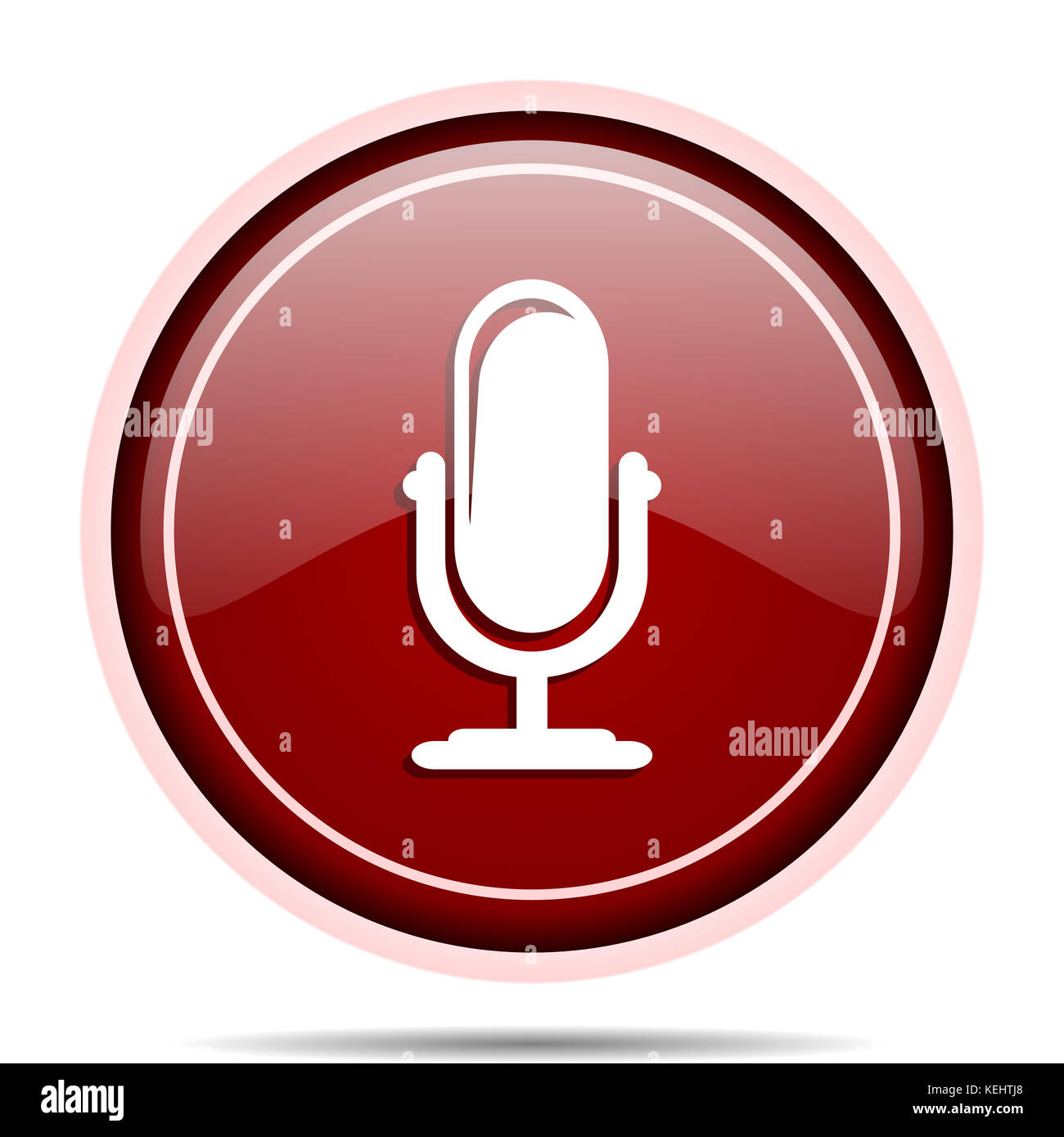 Microphone red glossy round web icon. Circle isolated internet button for webdesign and smartphone applications. - Stock Image