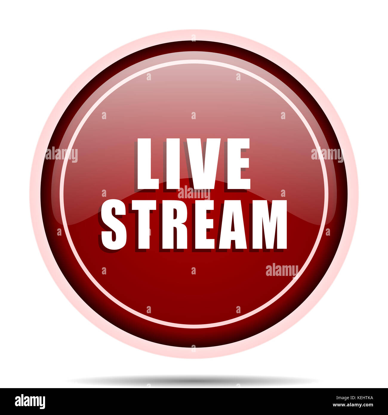 Live stream red glossy round web icon. Circle isolated internet button for webdesign and smartphone applications. - Stock Image