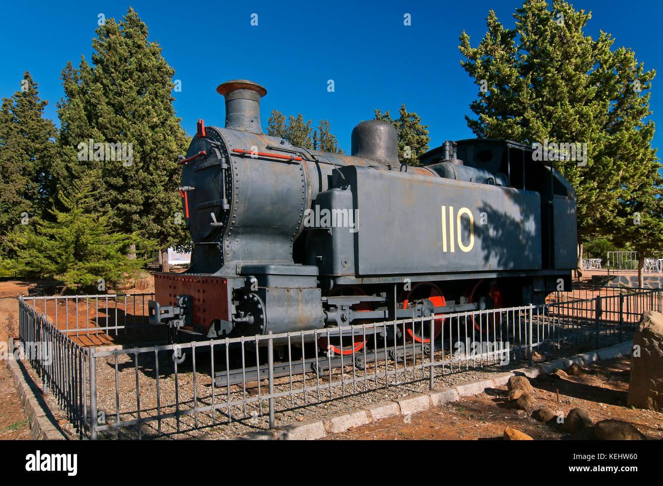 Homage to old mining train - locomotive, Parque de los Cipreses, El Campillo, El Andevalo region, Huelva province, - Stock Image