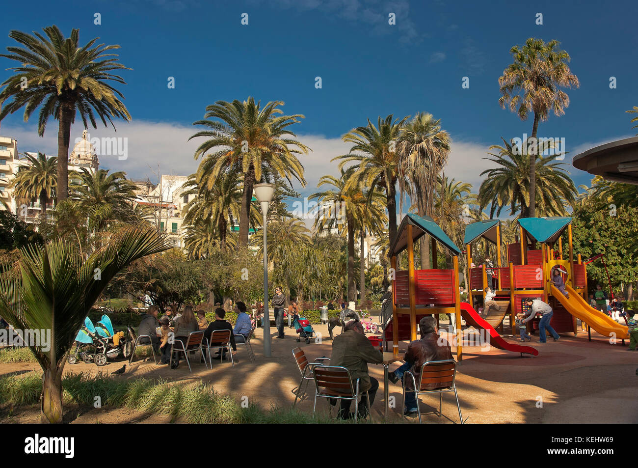 Alameda Park - terrace bar and playground, Malaga, Region of Andalusia, Spain, Europe - Stock Image