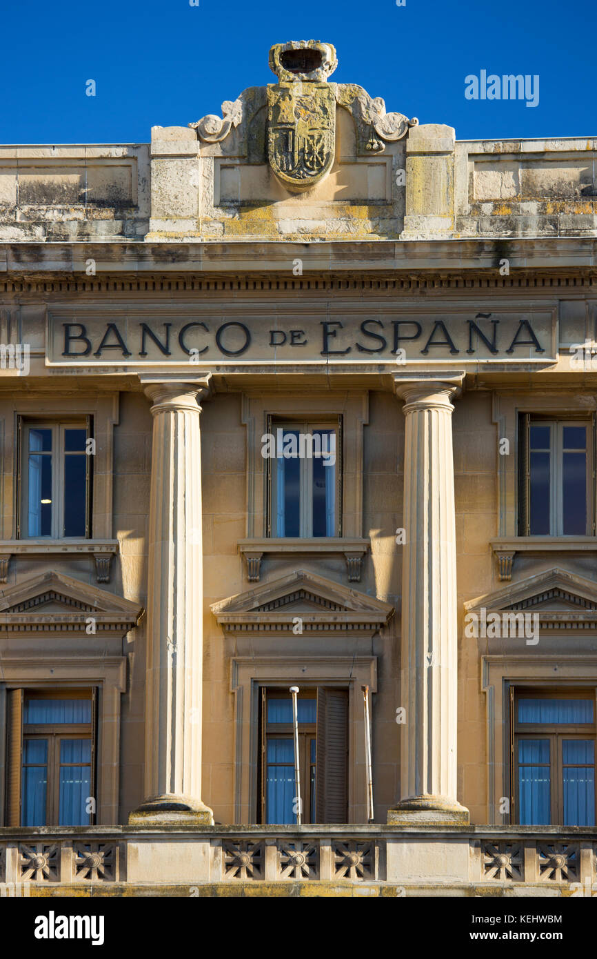 Bank of Spain, Banco de Espana, traditional architecture in the town of Haro in La Rioja province of Northern Spain - Stock Image