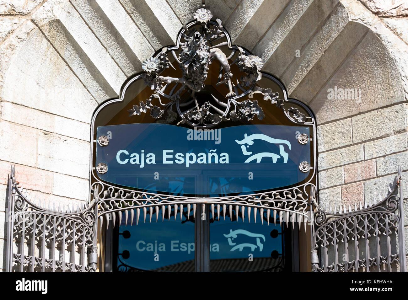 Caja Espana savings bank in Casa Botines designed by architect Antoni Gaud in Leon, Castilla y Leon, Spain - Stock Image