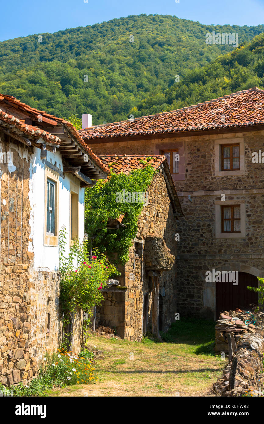 Mountain village of Somaniezo in Picos de Europa in Cantabria, Northern Spain - Stock Image