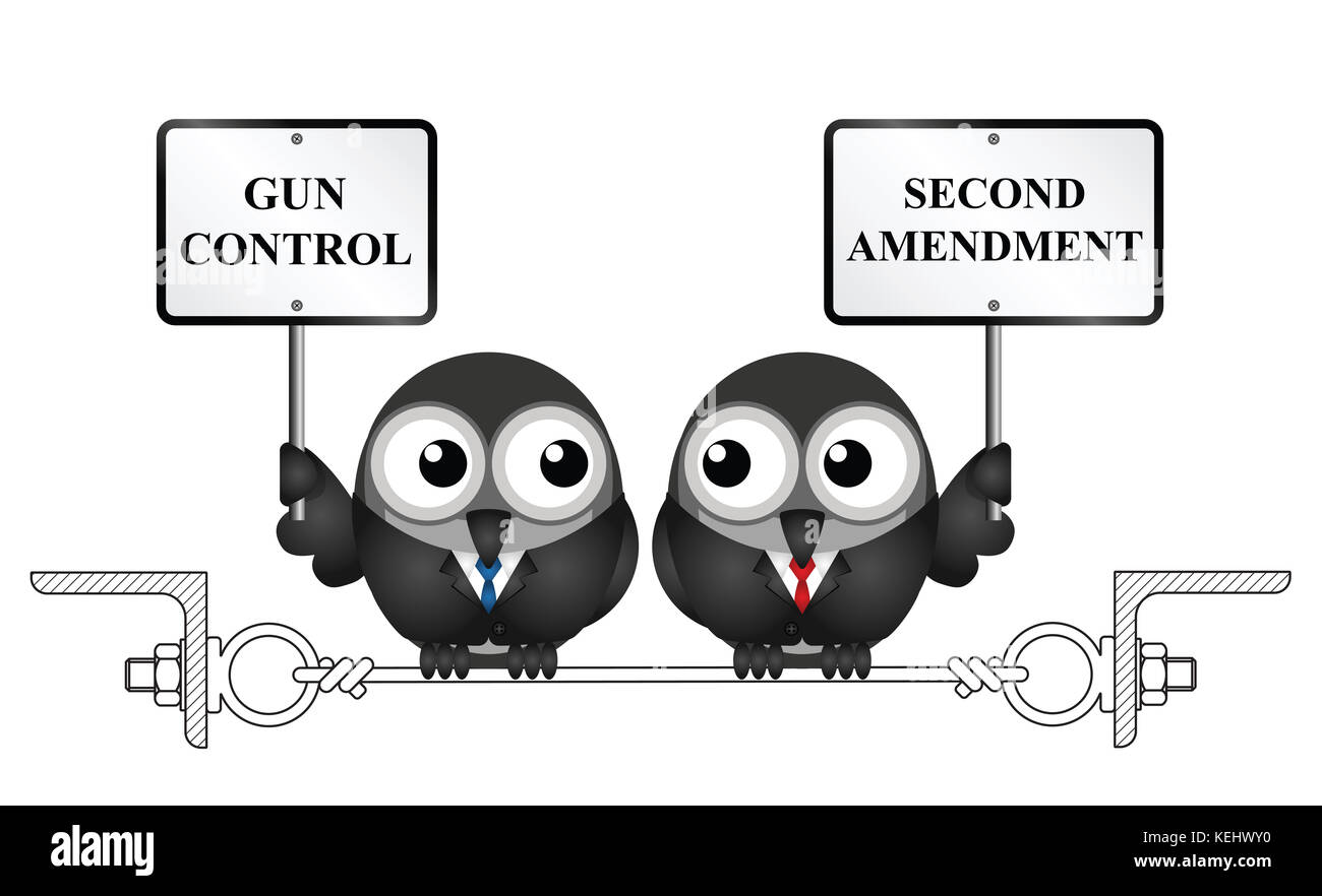 Gun control verses the USA second amendment and the right to keep and bear arms - Stock Image