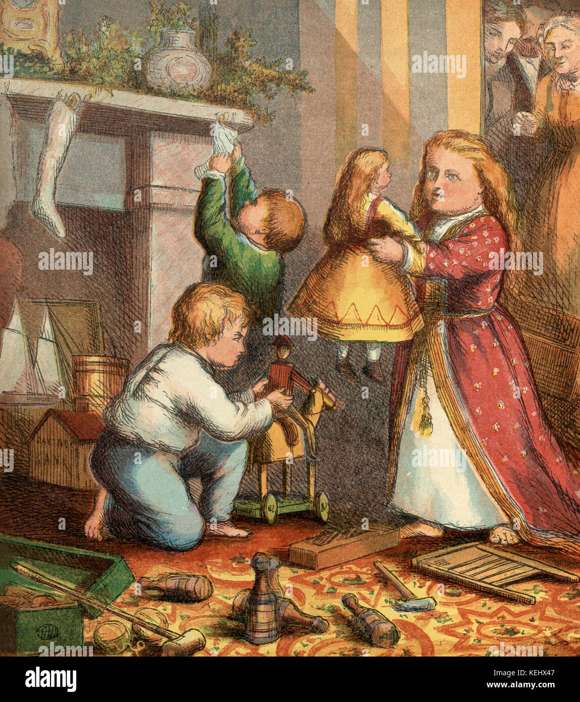 Vintage Illustration of Children on Christmas Morning - Stock Image