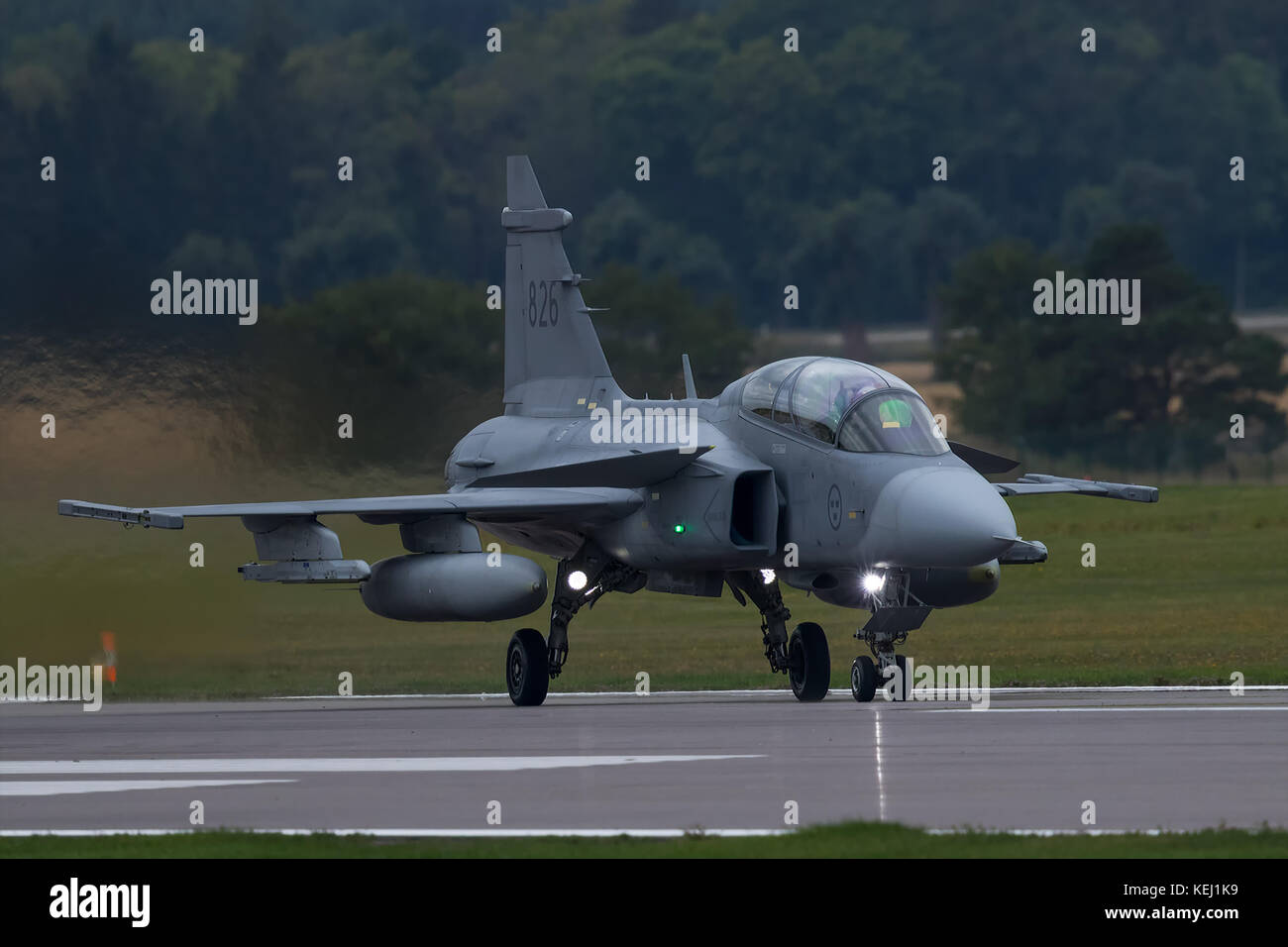 The Saab JAS 39 Gripen is a Swedish built multirole fighter. In service with the Swedish, Hungarian,Thai, South - Stock Image