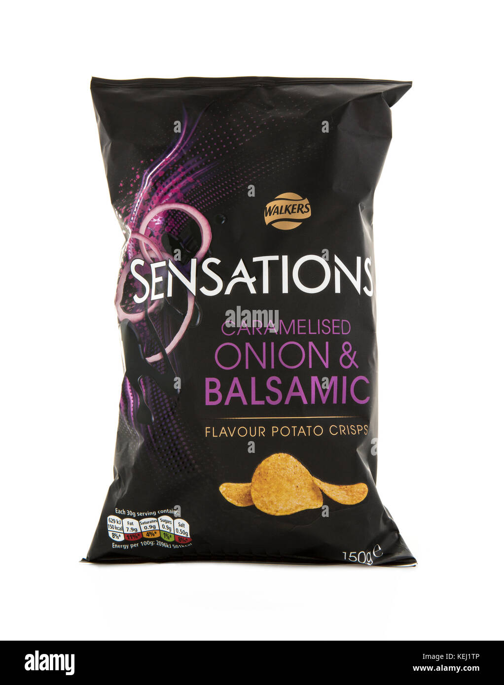 SWINDON, UK - OCTOBER 21, 2017: Bag of Walkers Sensations Caramelised Onion and Balsamic crisps isolated on a white - Stock Image