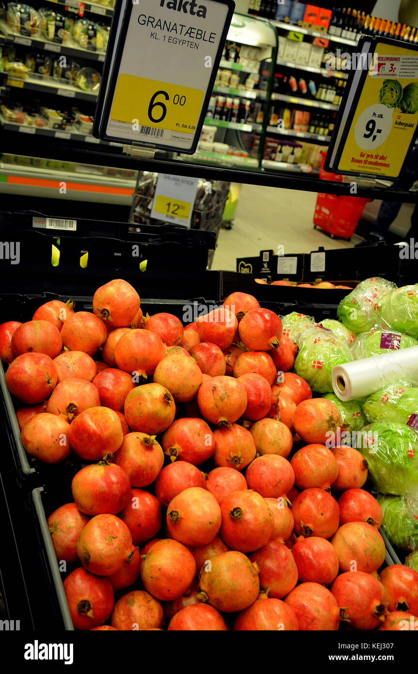 Copenhagen /Denmark - 21.October  2017.  Pomegrante fruit on sale in danish grocery store.     (Photo.Francis Dean/Dean - Stock Image