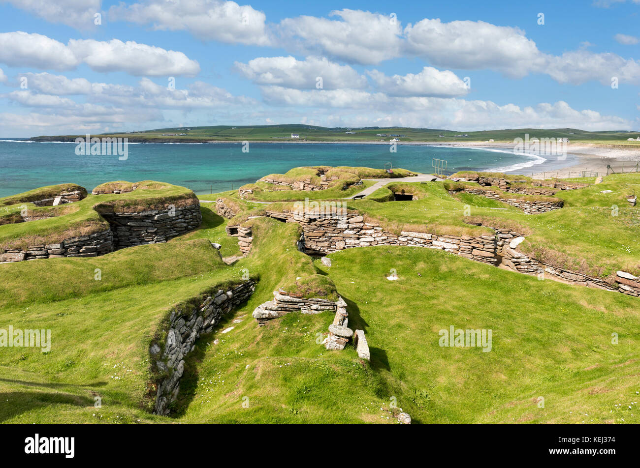 Neolithic settlement of Skara Brae, Mainland, Orkney, Scotland, UK - Stock Image
