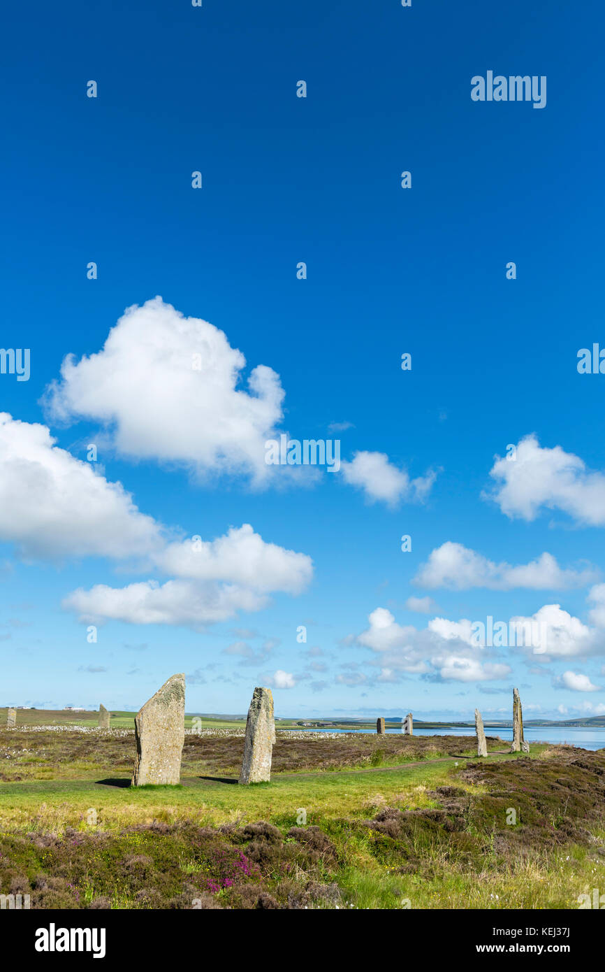 Ring of Brodgar, Orkney. Neolithic stone circle, dating from around 2000 to 2500 BC, Mainland, Orkney, Scotland, Stock Photo