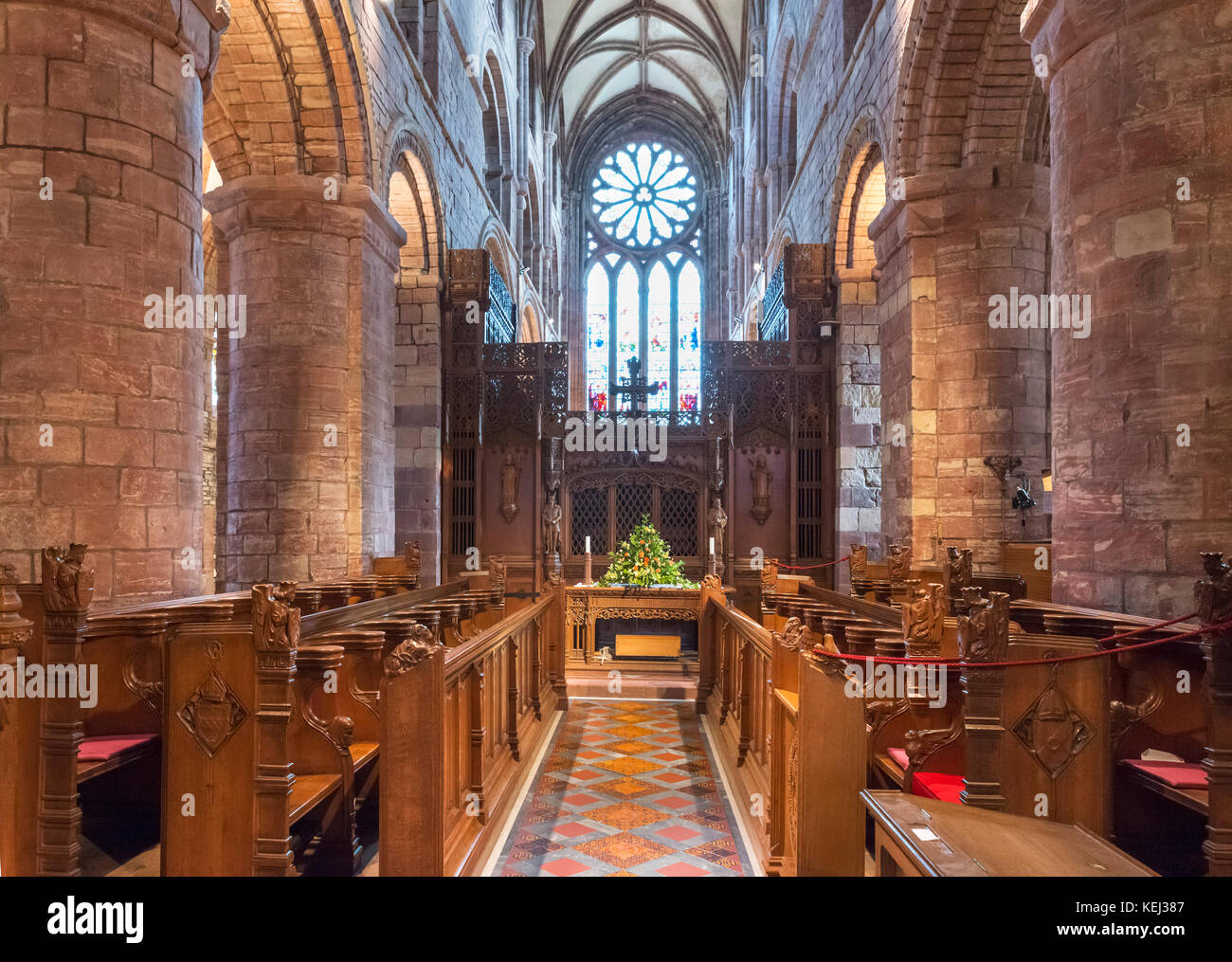 Interior of St Magnus Cathedral, Kirkwall, Mainland, Orkney, Scotland, UK - Stock Image