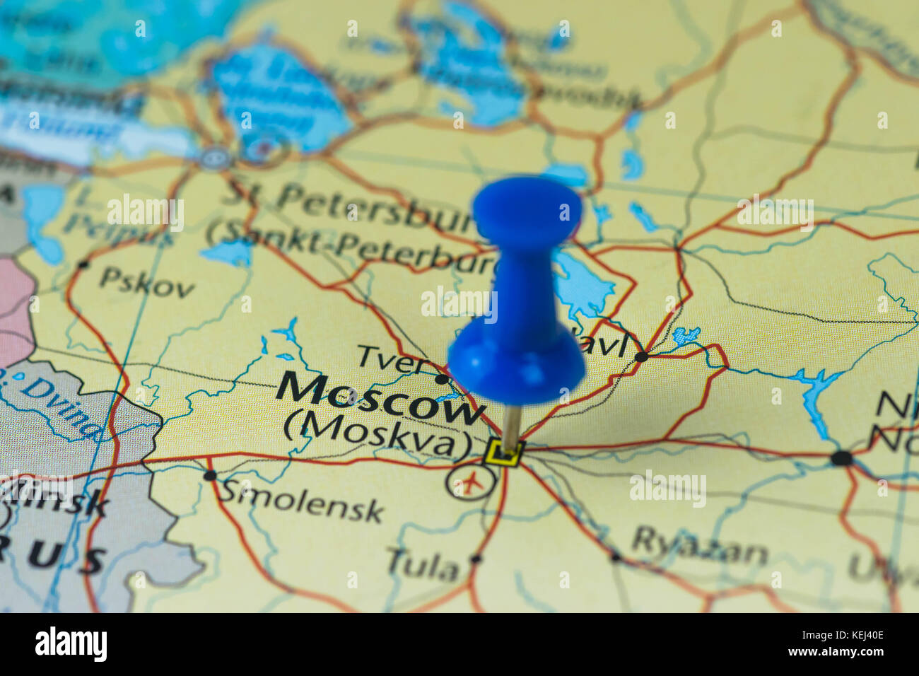 Moscow Pinned in a closeup map for football world cup 2018 in Russia ...
