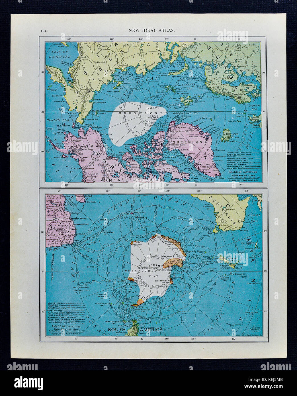 McNally Antique Map 1911 - South Pole Antarctica & North Pole Arctic Ocean - Stock Image