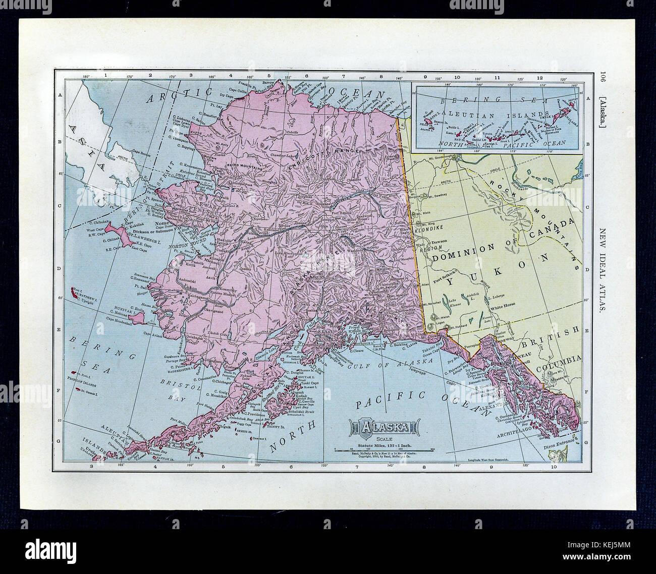 1911 Mcnally Map Alaska Canada Juneau Sitka Klondike Yukon Dawson