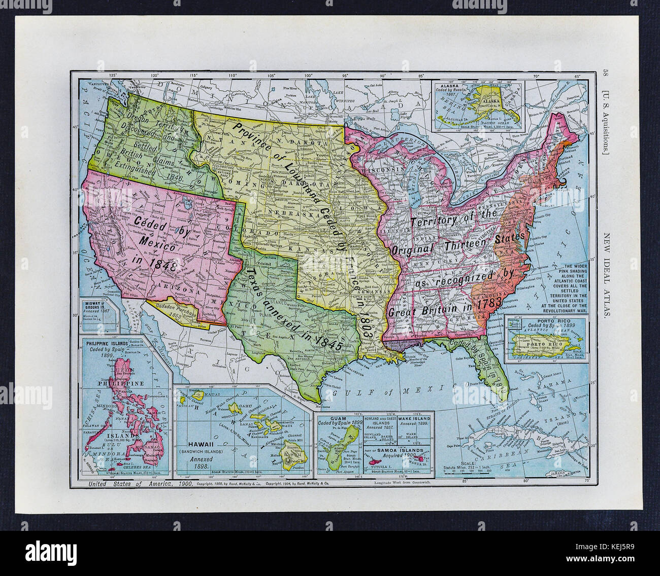 1911 McNally Antique Historical Map of the United States showing the ...