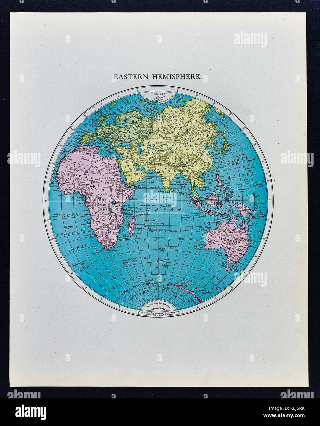 mcnally antique world eastern hemisphere map 1911 showing africa europe asia and australia stock image