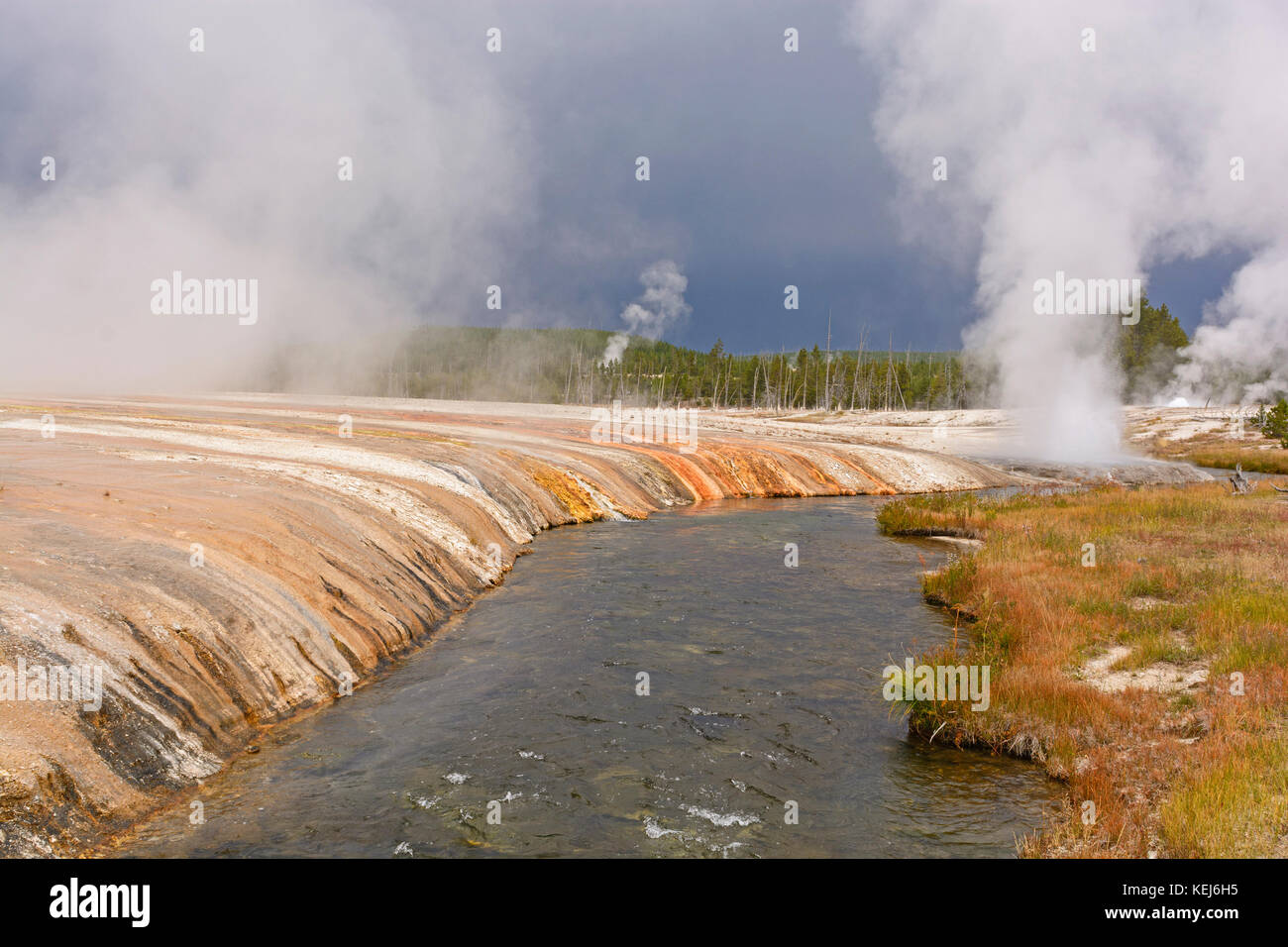 Dark Skies over the Firehole River in Yellowstone National Park - Stock Image