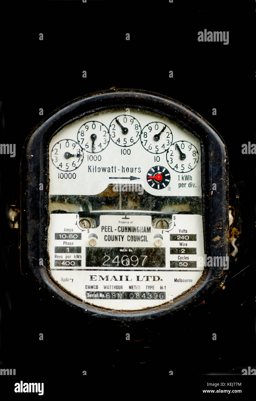 An older single phase 240 volt Australian electricity usage meter manufactured by Email  Ltd at a domestic home. Stock Photo