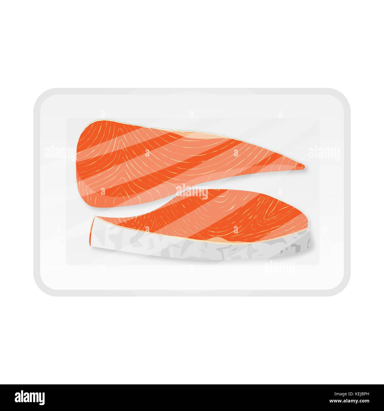 two pieces of fish in supermarket packaging - Stock Vector