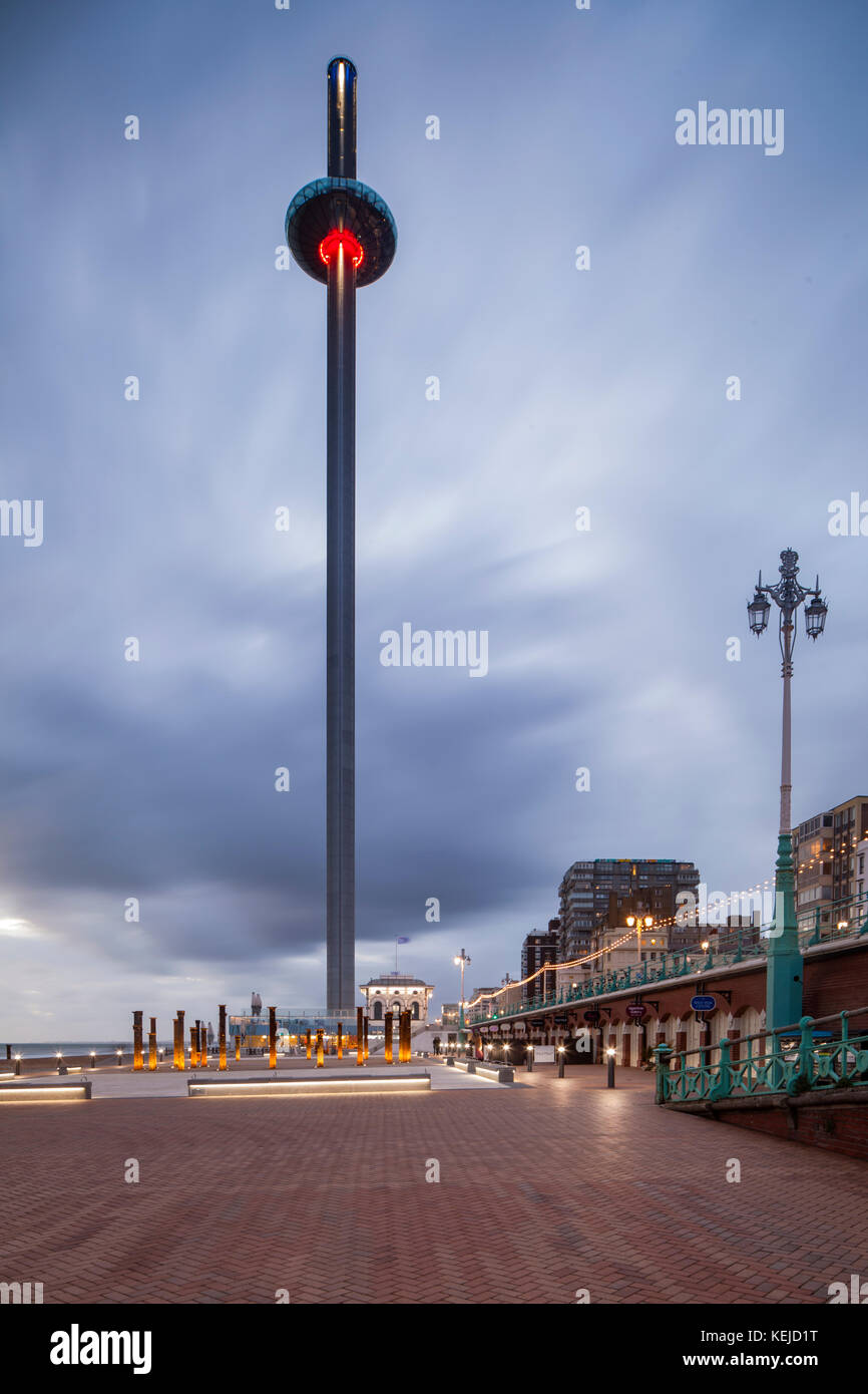 Evening at i360 tower on Brighton seafront, East Sussex, England. - Stock Image
