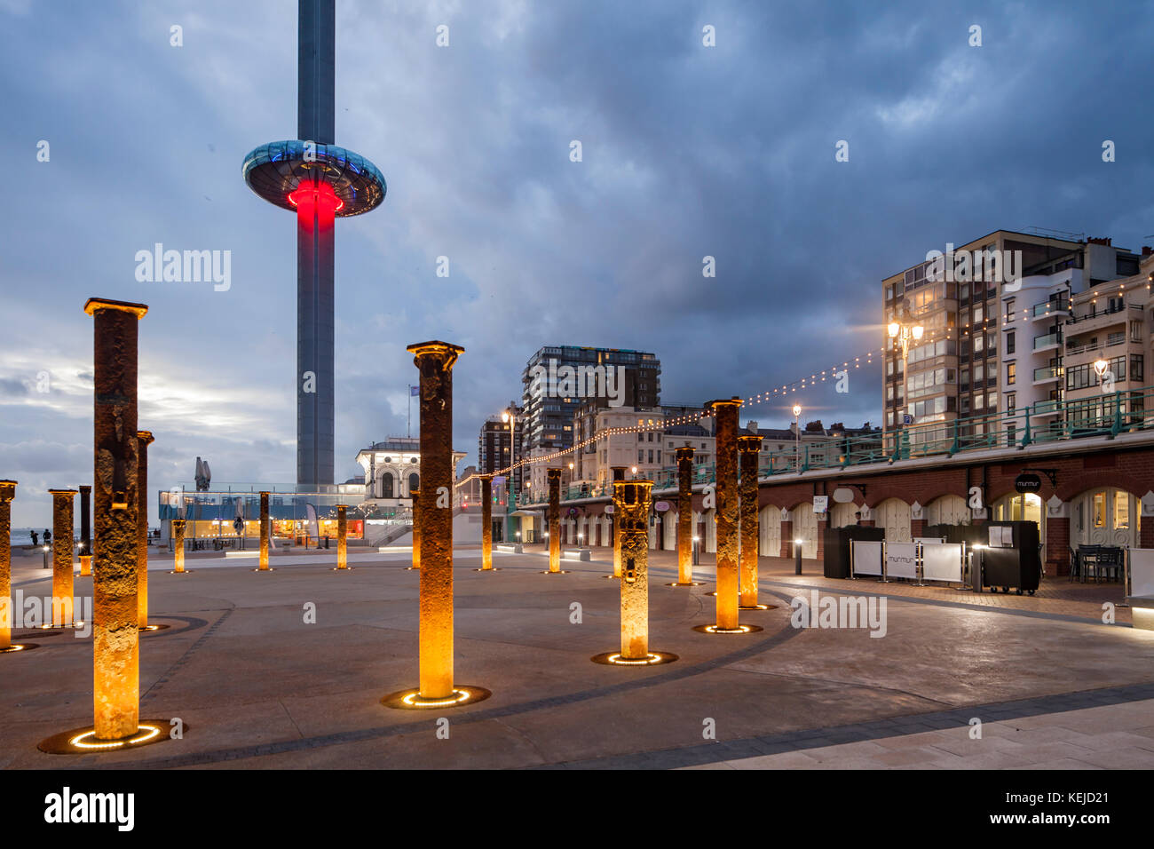 Evening on Brighton seafront, East Sussex, England. i360 tower in the distance. - Stock Image
