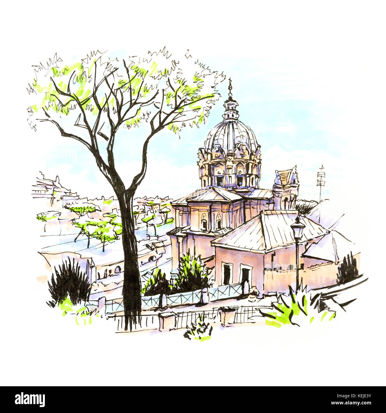 Scenic city view of Typical Roman church and Stone pine trees in the old city in Rome, Italy. Picture made markers - Stock Image
