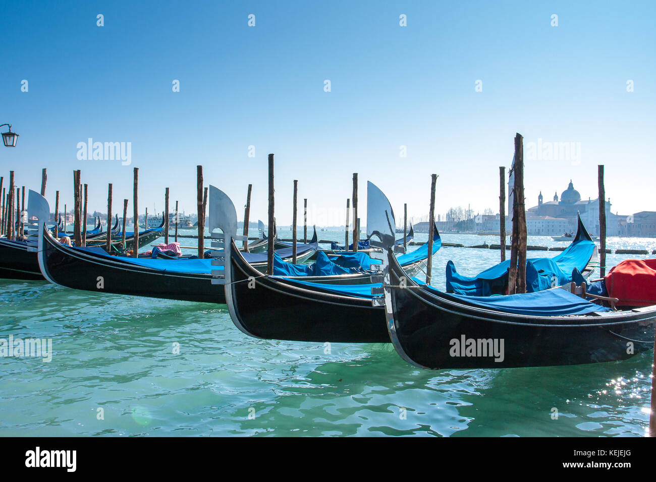 Close up of many gondolas aligned over the Canal Grande in Venice, with their beautiful silver rostrum and blue - Stock Image