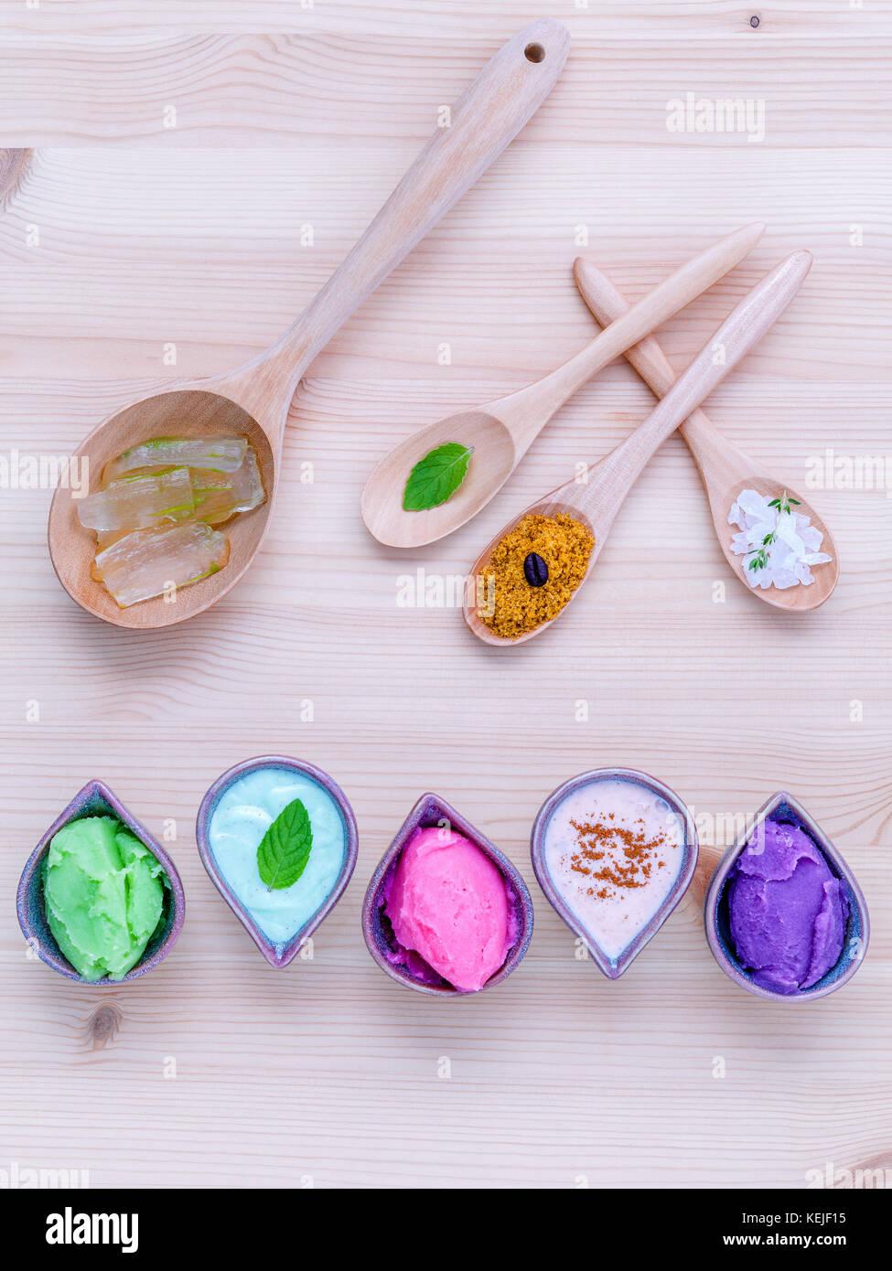 Alternative skin care and homemade scrubs lavender scrubs ,strawberry scrubs ,avocado scrubs and almond scrubs with Stock Photo
