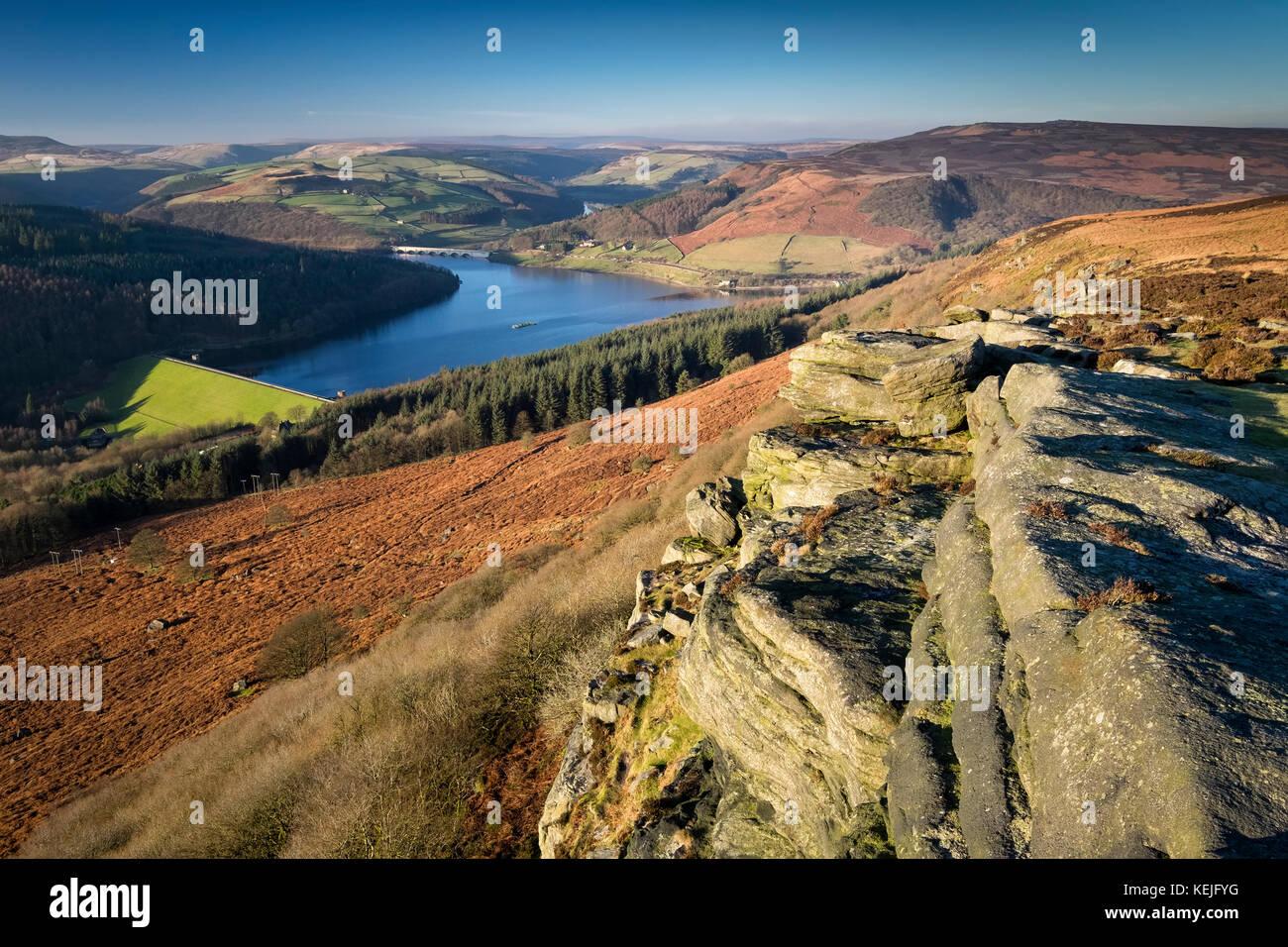 Ladybower Reservoir from Bamford Edge, Peak District National Park, Derbyshire, England, UK - Stock Image