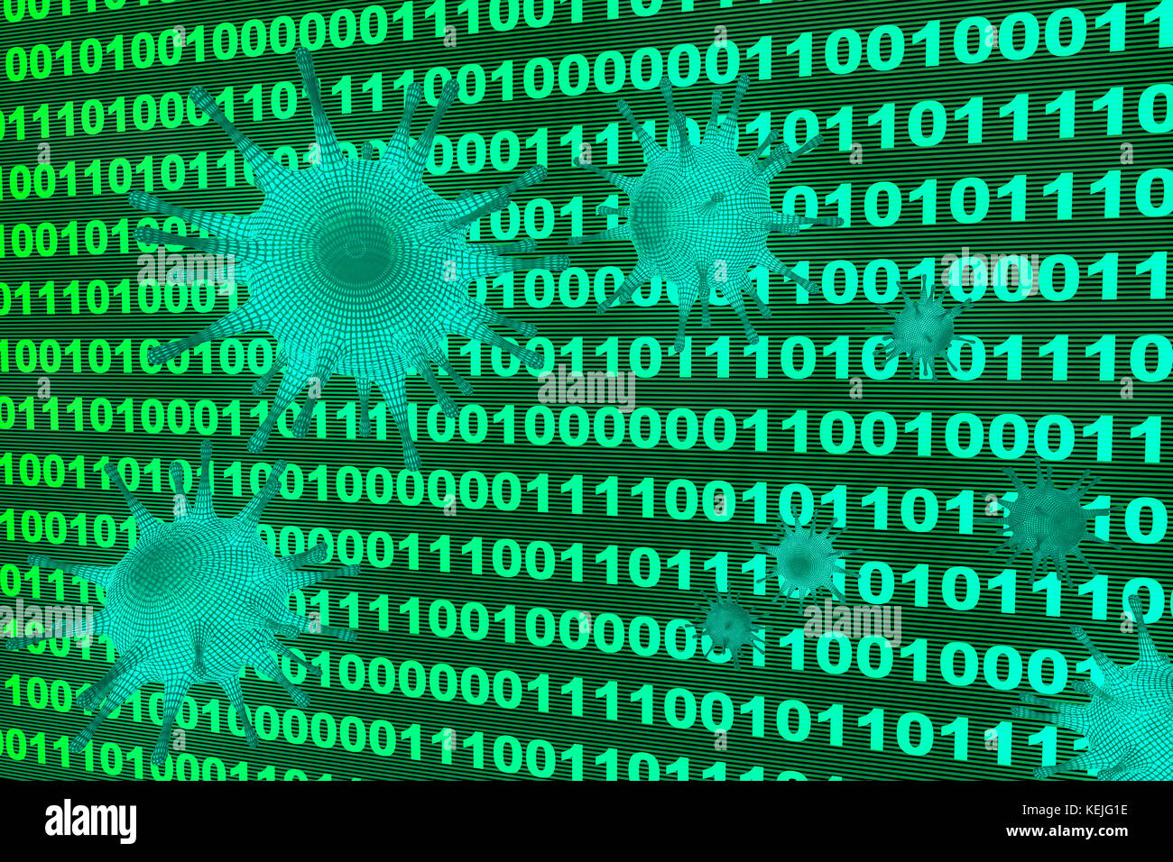 a computer virus infiltrate a system - Stock Image